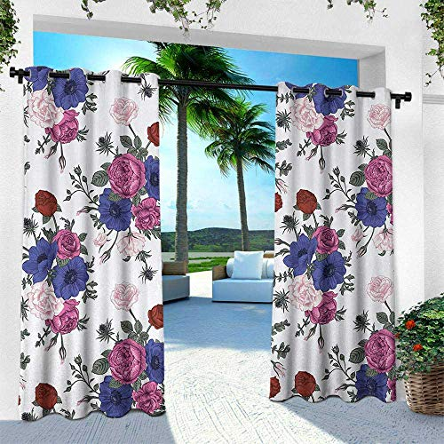 Hengshu Anemone Flower, Thermal Insulated Water Repellent Drape for Balcony,Bouquets of Roses Anemones Eustoma Colorful Corsage Bedding Plants Design, W84 x L84 Inch, Multicolor