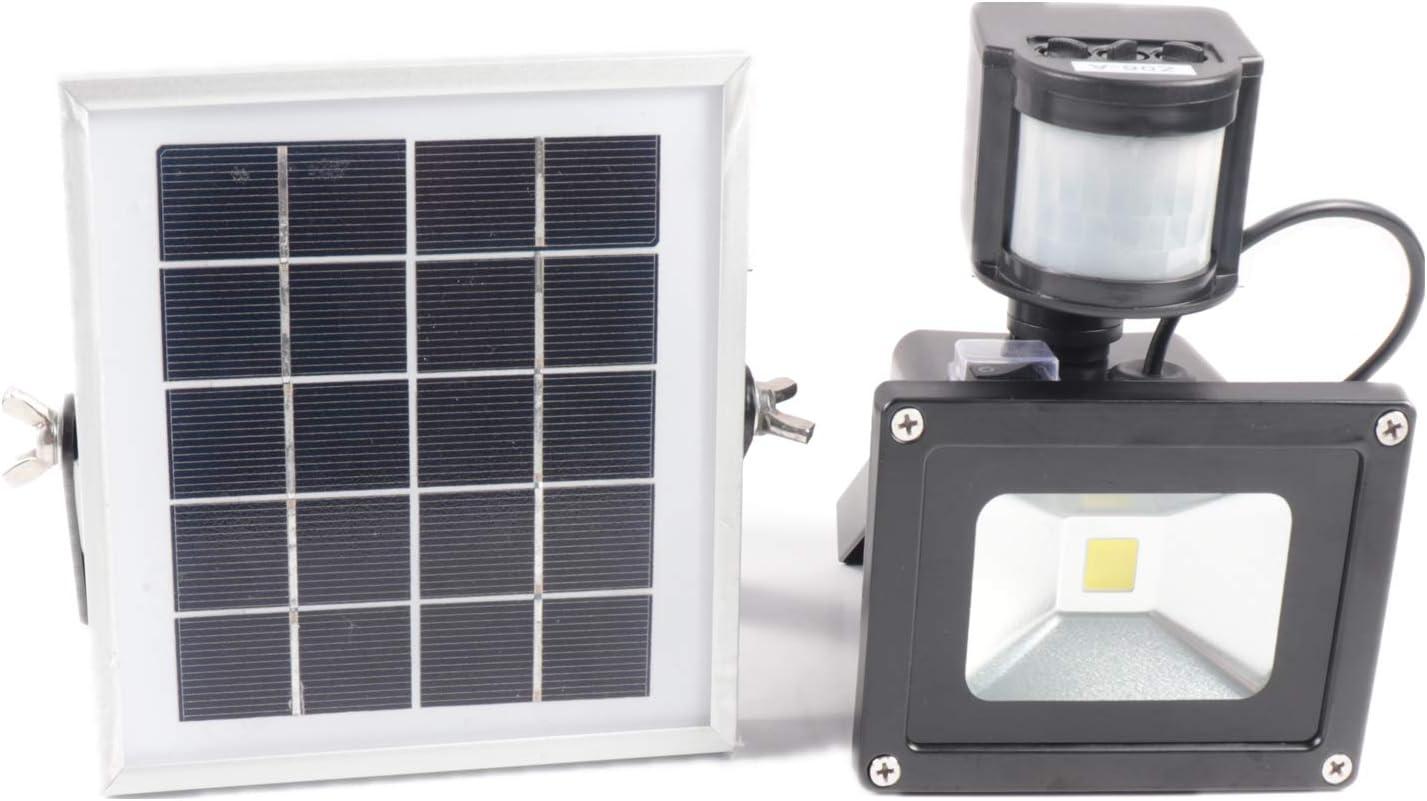 Patio Garaje Terraza HENGMEI 10W Blanco c/álido Foco Led Solar Exterior con Sensor de Movimiento L/ámpara Solar lluminaci/ón de Seguridad IP65 Impermeable Para Jard/ín