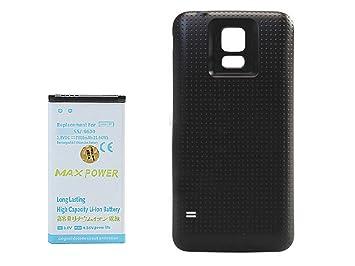 Alta capacidad 7800 mAh batería vuelve Funda Carcasa para Samsung Galaxy S5 I9600 negro