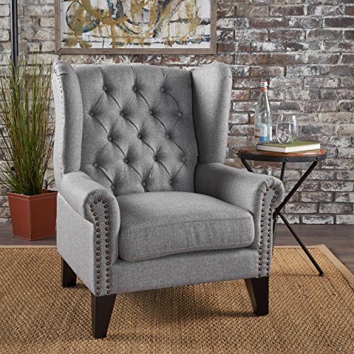 (Christopher Knight Home 302087 Laird Traditional Winged Fabric Accent Chair, Grey/Dark Brown)