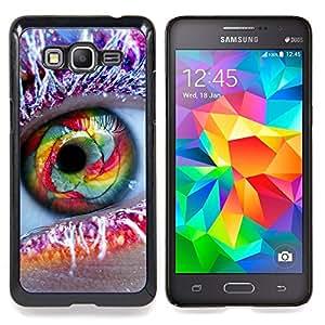 """Qstar Arte & diseño plástico duro Fundas Cover Cubre Hard Case Cover para Samsung Galaxy Grand Prime SM-G530F G530FZ G530Y G530H G530FZ/DS (Ojo del arco iris de Frost pluma Maquillaje Moda"""")"""