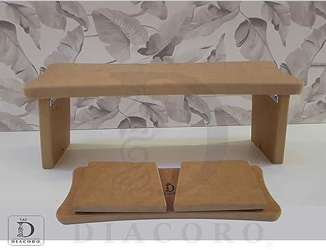 Banco de meditacion plegable - nuevo modelo mejorado de año 2020, taburete de meditacion en madera de DM acabado natural, con formato de cierre facil ...