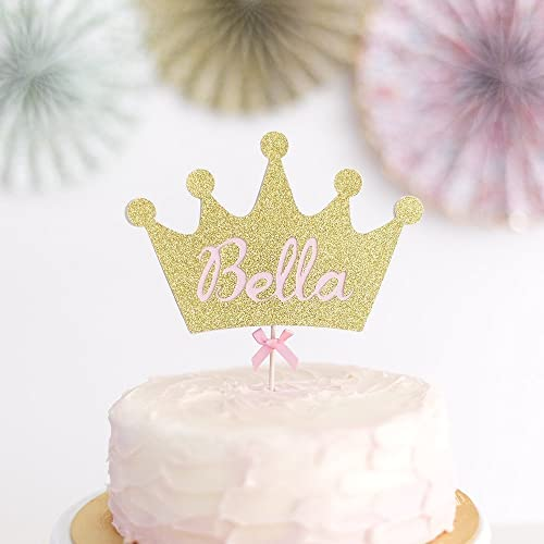 Fairy Princess Crown Cake Topper Personalised With Birthday Name Party Pink Gold Glitter Rose Girl Or Boy
