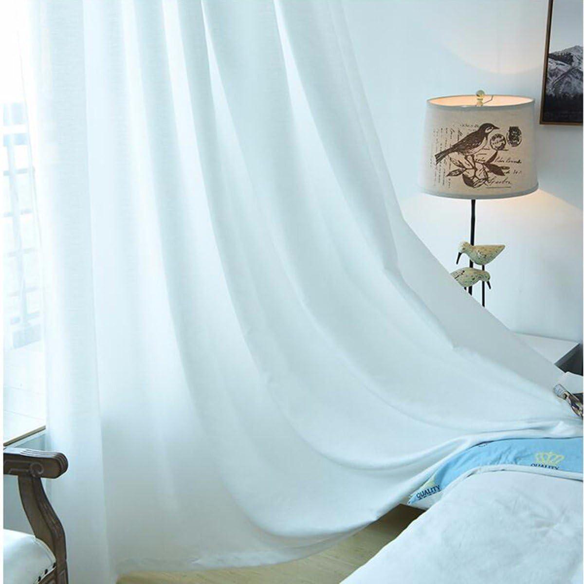 Vorh/änge Wohnzimmer Wei/ßen Vorhang Balkon Vorhang Wei/ße Garn Vorhang Schlafzimmer W x H Reine Farbdisplay Fenster,A,150 x 270 cm x 2 Opak