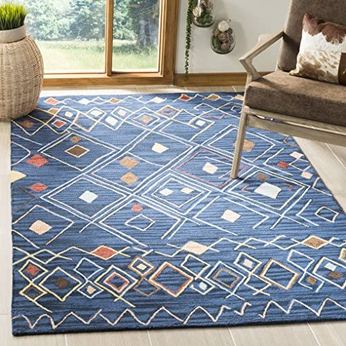 Safavieh Suzani Collection SZN316A Hand-Hooked Blue and Multi Wool Area Rug 8 x 10