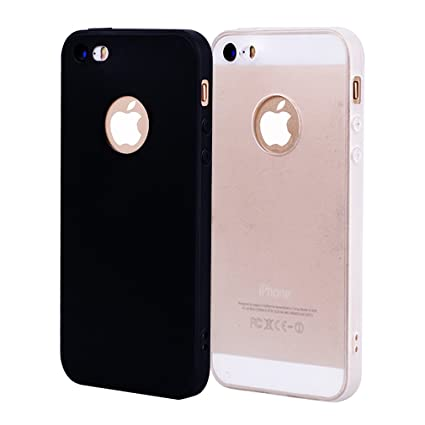 Funda iPhone 5, Carcasa iPhone 5S Silicona Gel, OUJD Mate Case Ultra Delgado TPU Goma Flexible Cover para iPhone 5/SE - Negro + blanco