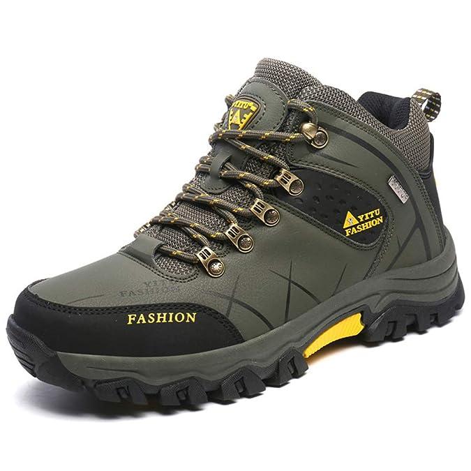 Botas para Hombres Zapatos Antideslizantes para El Invierno Hombres Botas De Invierno De Felpa CáLida Zapatos para Hombres De Senderismo Antideslizante: ...