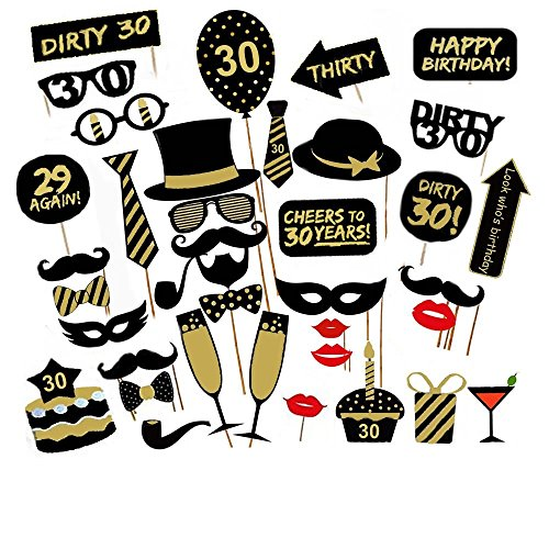 (Losuya 30th Birthday Party Photo Booth Props 36pcs DIY Set Funny Photobooth Prop for Unisex 30th Birthday Celebration)