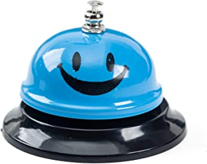 ASIAN HOME Call Bell, 3.35 Inch Diameter, Metal Bell, Blue Smiley Face, Desk Bell Service Bell for Hotels, Schools, Restaurants, Reception Areas, Hospitals, Customer Service, Blue (1 Bell)