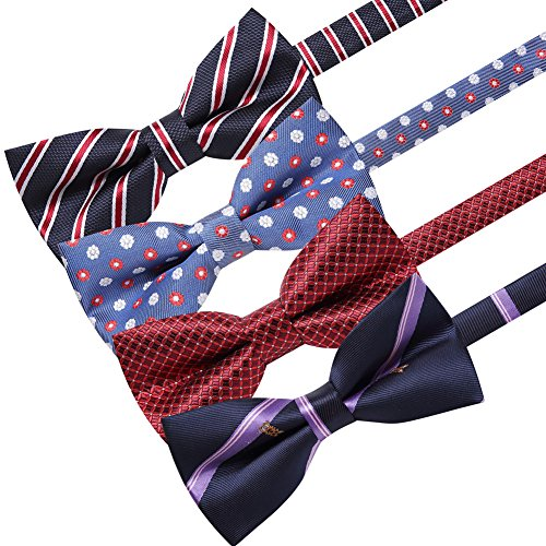 AUSKY 4 Pack Elegant Adjustable Pre-Tied Bow Tie Pocket Square Handkerchief set for Men Boys (4 PACKS A) by Ausky (Image #1)