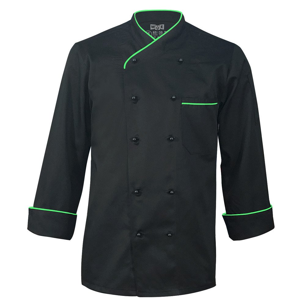 10oz Apparel Long Sleeve Black Chef Jacket with Neon Green Piping M