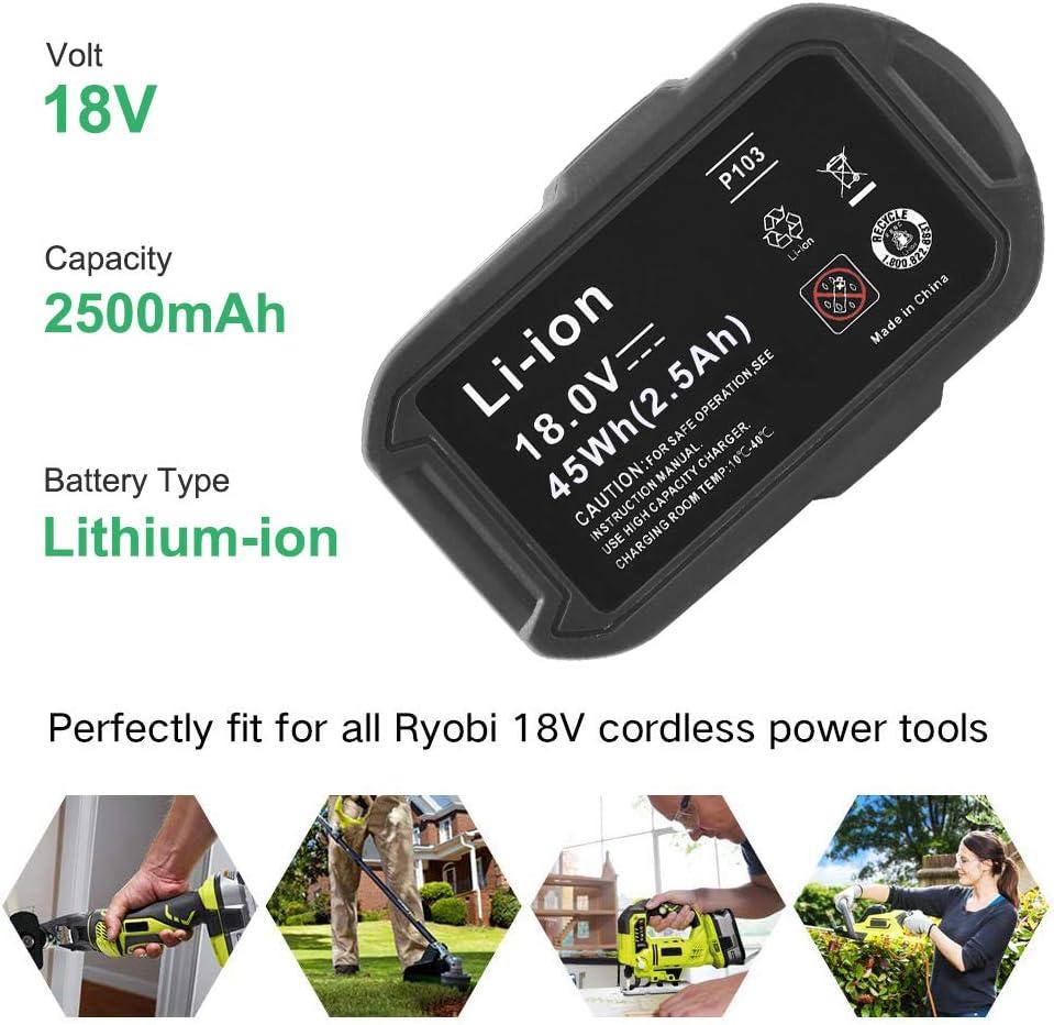Hochstern 2500mAh Li-ion de remplacement la batterie pour Ryobi 18V ONE RB18L50 RB18L40 RB18L25 P108 P107 P102 P104 P105 P102 P103 Outil /électroportatif sans fil avec indicateur /à LED