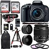 Kit de creador de video Canon EOS REBEL T7i de 18-55 mm. Lente gran angular de alta definición HD, lente teleobjetivo HD de 2.2X, kit de filtro y cámara de 32GB X2 de Sandisk y paquete de accesorios premium