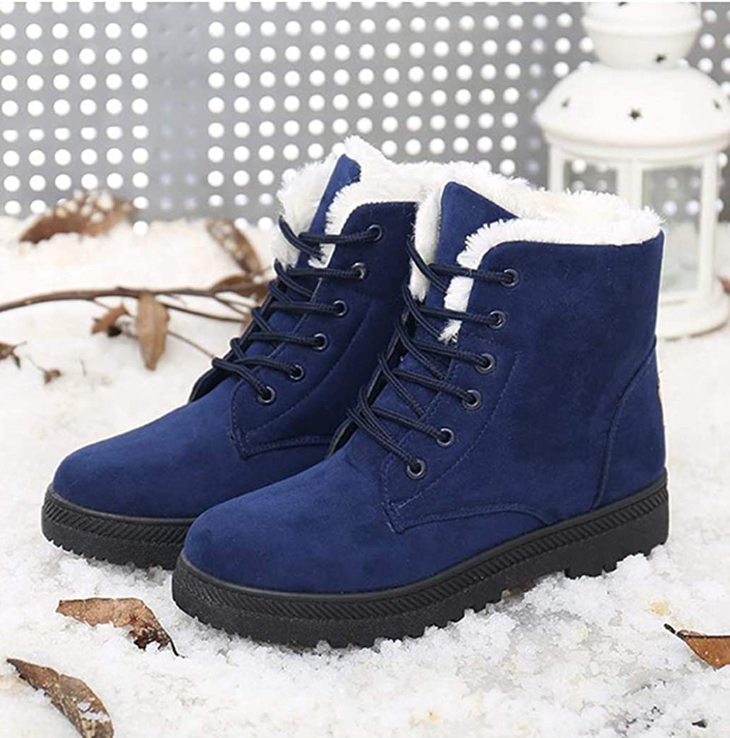 Hoxekle Women Lace-up Boots Warm Winter Non-Slip Fashion Wear Resistant Casual Platform Ankle Boots for Female Shoes