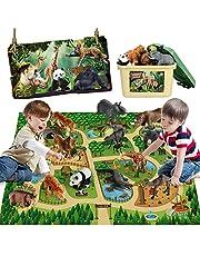 Mini Tudou 12 Pcs Safari Animals Figures Toys w/ 57x38.6'' Large Activity Play Mat, Realistic Jumbo Jungle Wild Zoo Animals Figurines Playset w/ Elephant, Giraffe, Lion for Kids Toddlers Boys & Girls