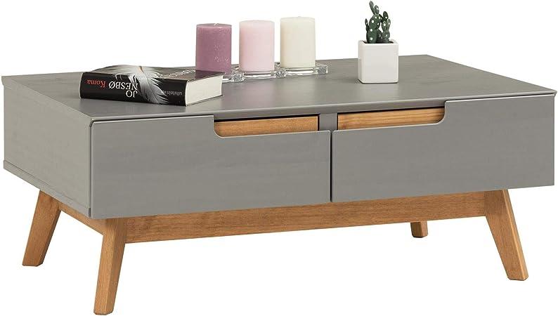 Idimex Table Basse Tibor Style Scandinave Design Vintage Nordique Table De Salon Rectangulaire Avec 2 Tiroirs Et 2 Niches En Pin Massif Lasure Gris