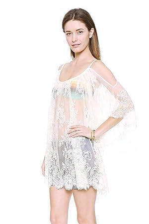 Vococal - Camisetas de Crochet de Encaje Floral Transparente / Tapas Sueltas Blusas de Manga Larga