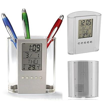 Portalápices de escritorio digital con pantalla LCD para despertador, termómetro, calendario, pantalla digital