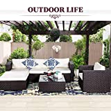 Cheap Cloud Mountain Outdoor Patio Furniture Set 6 Piece Wicker Resin Sectional Sofa Chocolate Ergonomic Comfortable Modern Easy Assembly Patio Lawn Garden Backyard Pool Connection Clips