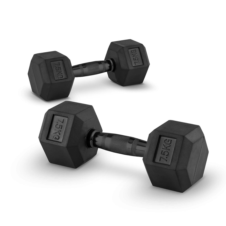 Capital Sports Hexbell Par de Pesas 2 x 7,5 kg (recubiertas de resistente goma dura, barra de acero negro con estrías, máxima sujeción, peso indicado para ...