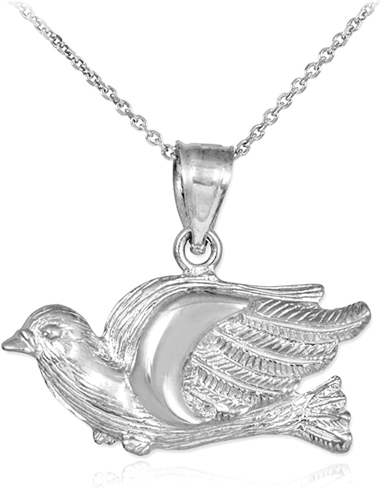 Beautiful Sterling silver 925 sterling Sterling Silver CZ Polished Dove Charm