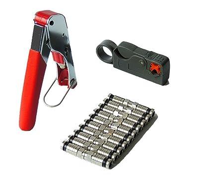 Hycy Cable Coaxial Pelacables RG6/RG59 Compresión F Herramienta De Conector Prensado Alicates Pelacables Kit