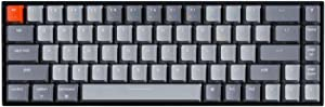 Keychron K6 65% Compact Wireless Mechanical Keyboard for Mac, Hot-swappable White Backlight, Bluetooth, Multitasking, Type-C Wired Gaming Keyboard for Windows with Gateron Red Switch