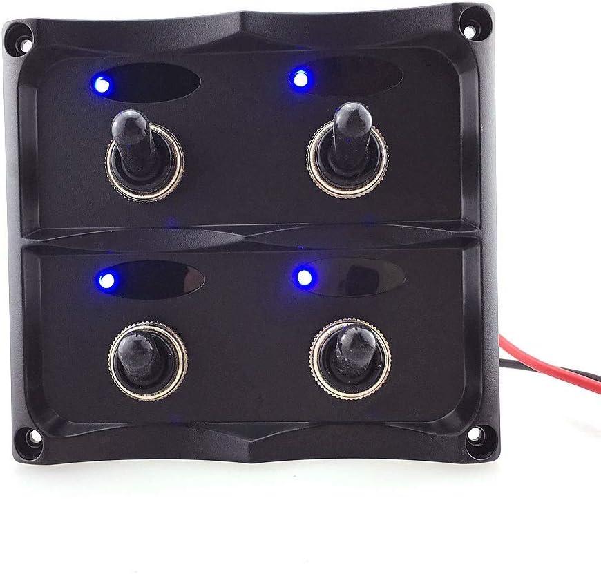 Piezas de la motocicleta 4Gang Toggle Switch Interruptor Panel coche 12V / 24V Yate Reinstale con luz