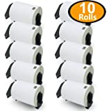 "10 Rolls Brother-Compatible DK-1241 101mm x 152mm(4"" x 6"") 2000 Shipping Labels With Refillable Cartridge"