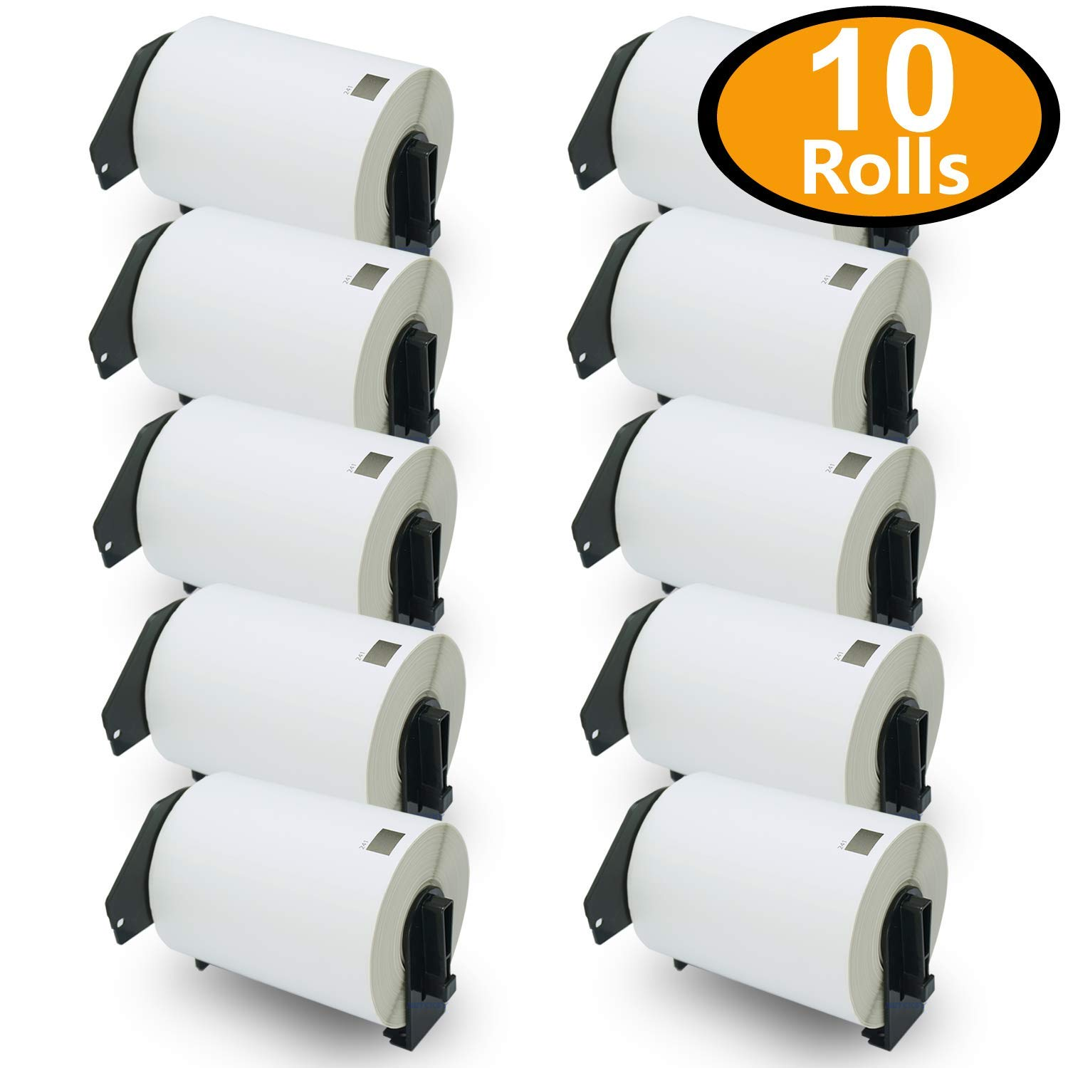 BETCKEY - 10 Rolls Compatible Brother DK-1241 Shipping Labels 101mm x 152mm(4'' x 6'')[2000 Labels With Refillable Cartridge Frame]