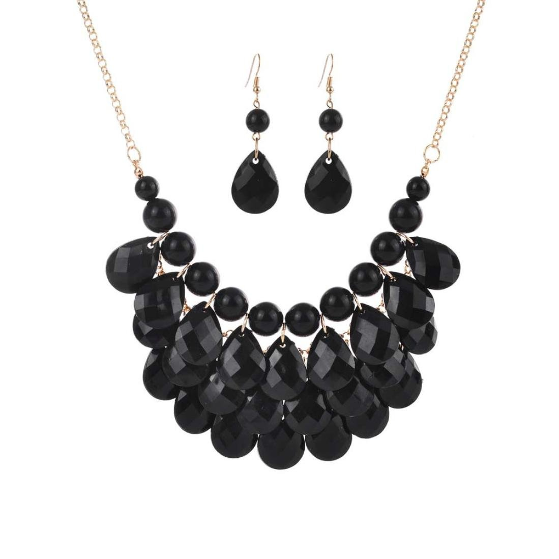 08c9ecaf8 Amazon.com: Botrong® Women Fashion Crystal Necklace Jewelry Statement  Pendant Charm Chain Choker (Black): Jewelry