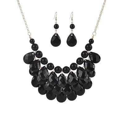 Botrong® Women Fashion Crystal Necklace Jewelry Statement Pendant Charm  Chain Choker (Black) 532672590b98