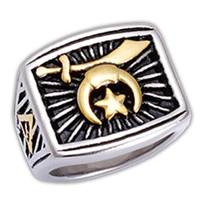 Masonic Rings for Sale - Freemasons Shriner Ring Duo-Tone Gold and Silver  Color Steel Emblem with Rays of Light and Grand Elect Mason Symbol   Shriners