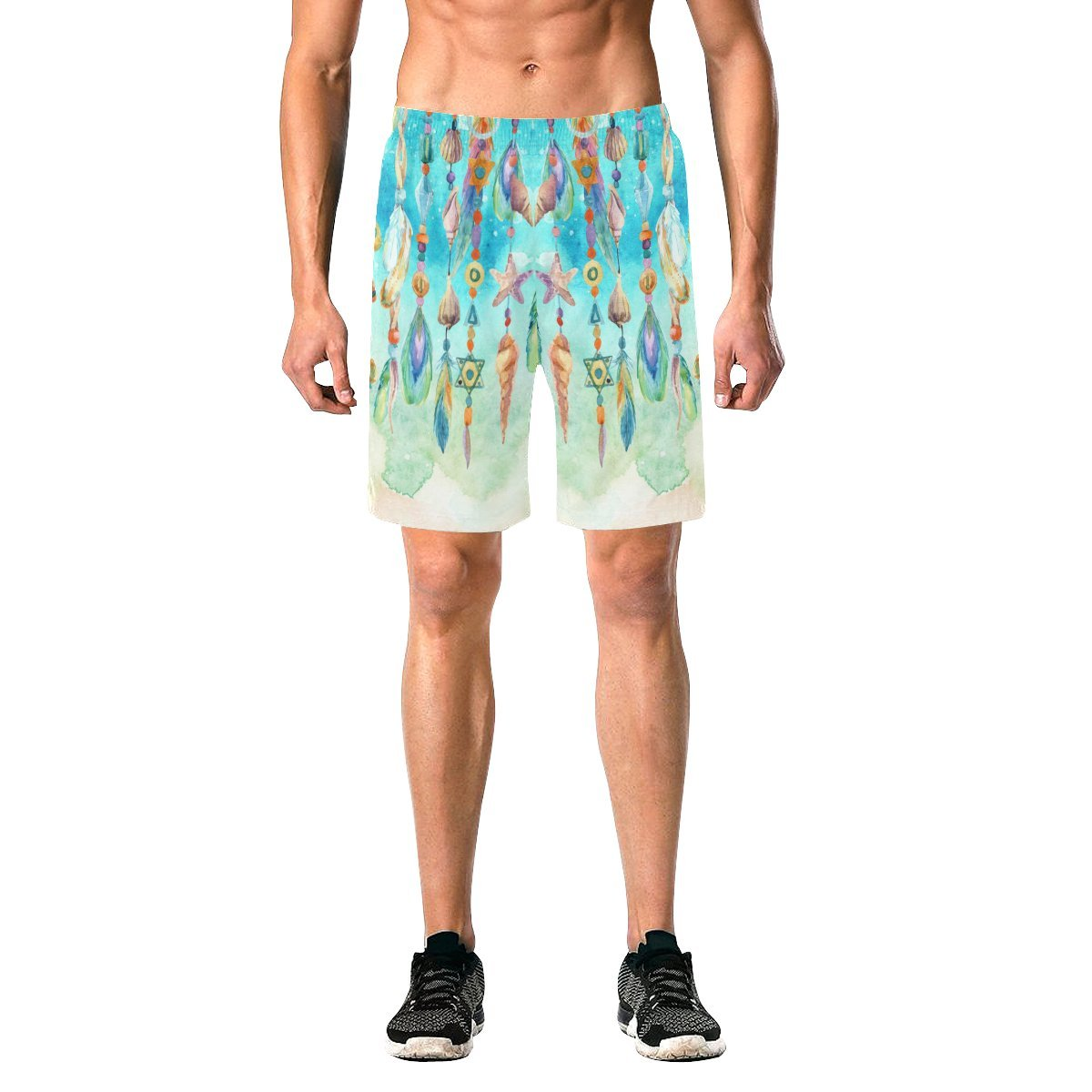 InterestPrint Watercolor Jewellery Sea Shells Beads Feathers Sea Sand Men's Casual Quick Dry Swim Trunks Beach Shorts Board Shorts with Pockets, Mesh Lining S