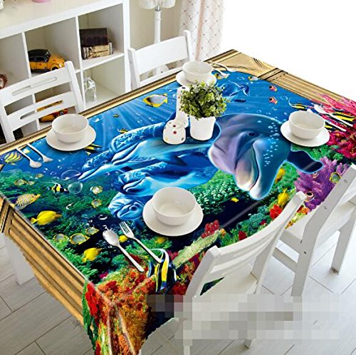 (3D Ocean Dolphin Seaweed Natural 6234 Tablecloth Table Cover Cloth Birthday Party Wallpaper Mural US | 3D Large Photo Tablecloth, AJ Wallpaper Kyra (【89''x 156''】 228x396cm(WxL)))