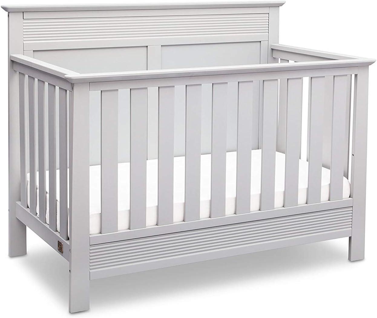 Serta Fall River 5-Piece Nursery Furniture Set Serta Convertible Crib, 4-Drawer Dresser, Changing Top, Serta Crib Mattress, Glider White//French Grey