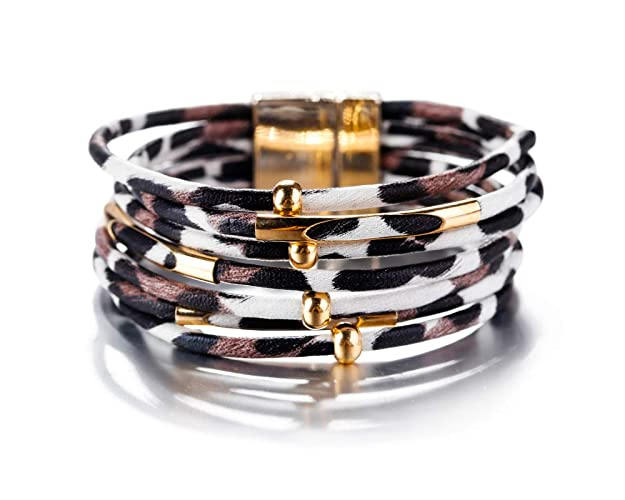 Fesciory Women Multi-Layer Leather Wrap Bracelet Handmade Wristband Braided Rope Cuff Bangle with Magnetic Buckle Jewelry (White and Black Leopard)