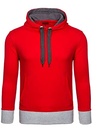 BOLF Herren Kapuzenpullover mit Kordelzug Bündchen Farbwahl Sweatshirt  Hoodie 1A1: Amazon.de: Bekleidung
