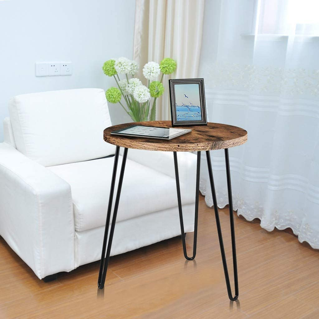 m/·kvfa Simple Round Iron Coffee Table Bedroom Retro End Table Home Telephone Side Tables Snack Table Nightstands for Bedroom Living Room Home Office