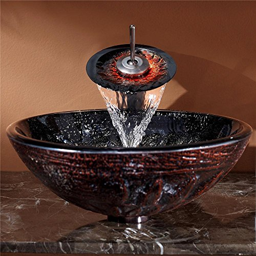 hot sale Kraus GV-681-19mm-ORB Magma Glass Vessel Bathroom Sink with PU-MR Oil Rubbed Bronze