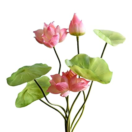 Htmeing Artificial Lotus Flowers Pu Materialnot Silk Real Touch