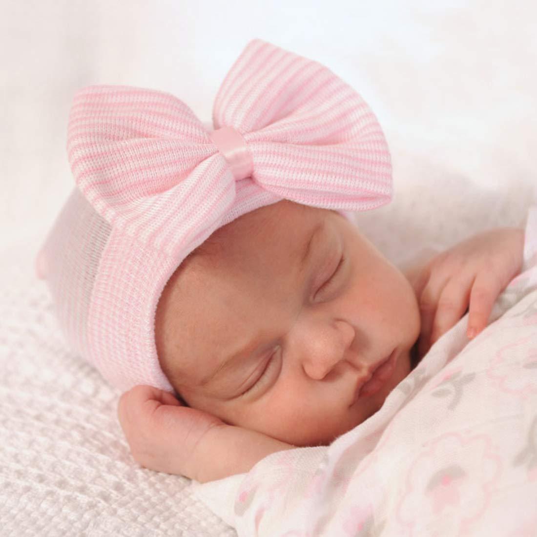 Newborn Cute Lovely Soft Cute Hat Bow Baby Girl Hospital Beanie Hat Newborn