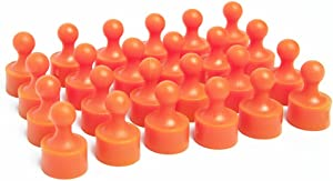24 Bold Orange Magnetic Pins, Pawn Style - Perfect for Fun Fridge Magnets, Whiteboards, Cabinets, Photo Magnets for Refrigerator, and More!
