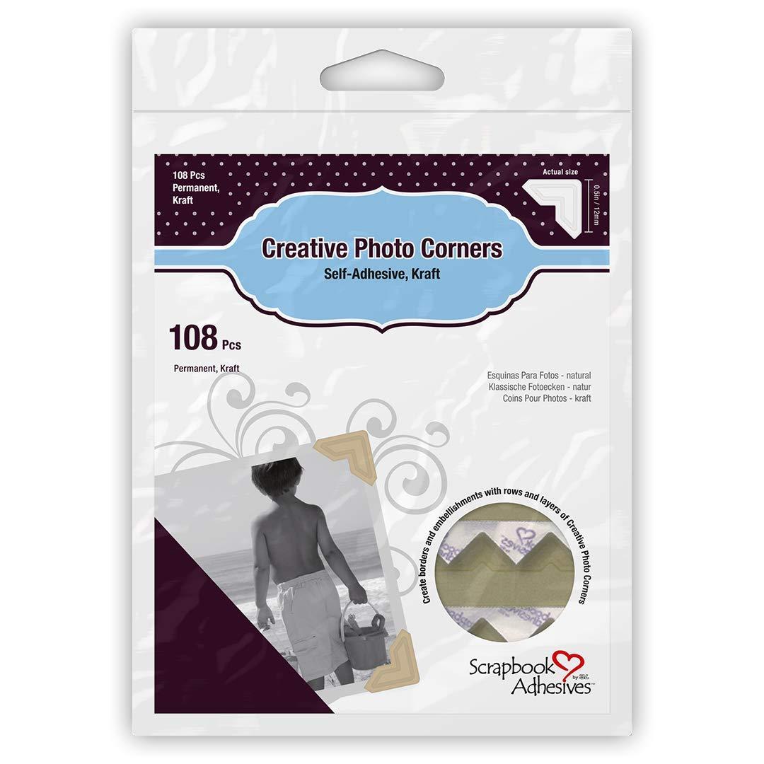 108-Pack Silver 3L Scrapbook Adhesives Self-Adhesive Creative Paper Photo Corners