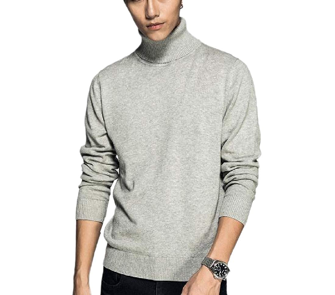 YUNY Mens Soft Solid Long-Sleeve Warm Casual Turtleneck Knit Sweater Light Grey M