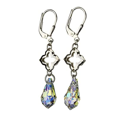 c23ede58c Image Unavailable. Image not available for. Color: Sterling Silver Clover  Link Leverback Earrings Aurora Borealis Teardrop Made with Swarovski  Crystals