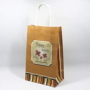 Amazon.com: BATOP Kraft Paper Gift Bag with Handle Pinted ...