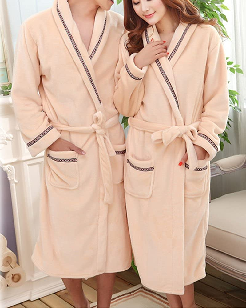 ZiXing Couple Femmes Homme Caricature Coral Fleece Robe de Chambre Peignoir Costume Manteau