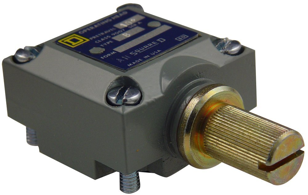 Square D 9007B Rotary Head Without Lever Arm, for 9007C Limit Switches, Standard Pretravel Spring Return Operator, CW Actuation