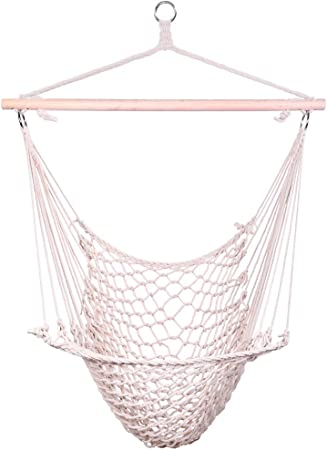 Amazon Com Z Ztdm Hanging Hammock Chair Swing Seat With Soft Cotton Rope Sturdy Wood Bar 300lbs Capacity For Indoor Outdoor Bedroom Garden Yard Patio Porch Beige Furniture Decor